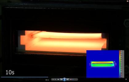 IH式小型ホットスタンピング装置での加熱の例。ホットスタンプ 高温炉 大気炉 真空炉 溶解炉 熱処理炉 真空管式発振機 タングステンヒーター 真空炉 ビレットヒータ 金属加熱 高周波加熱 高周波溶解炉 ホットプレス ハイブリッド加熱 ホットスタンピング 高温炉 溶解炉 高周波溶解炉 通電焼結装置 真空管式発振機 マイクロPD 引下げ装置
